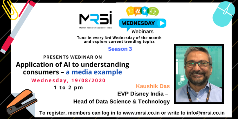 MRSI Webinar on 19th August on Application of AI to understanding consumers a media example