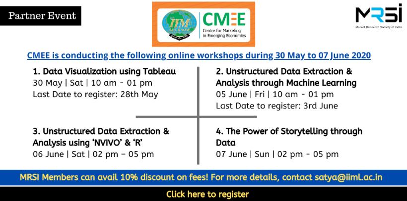 CMEE IIML Online Workshops 30th May to 7th June