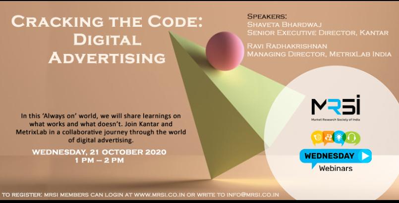 MRSI Wednesday Webinar on Cracking the Code: Digital Advertising